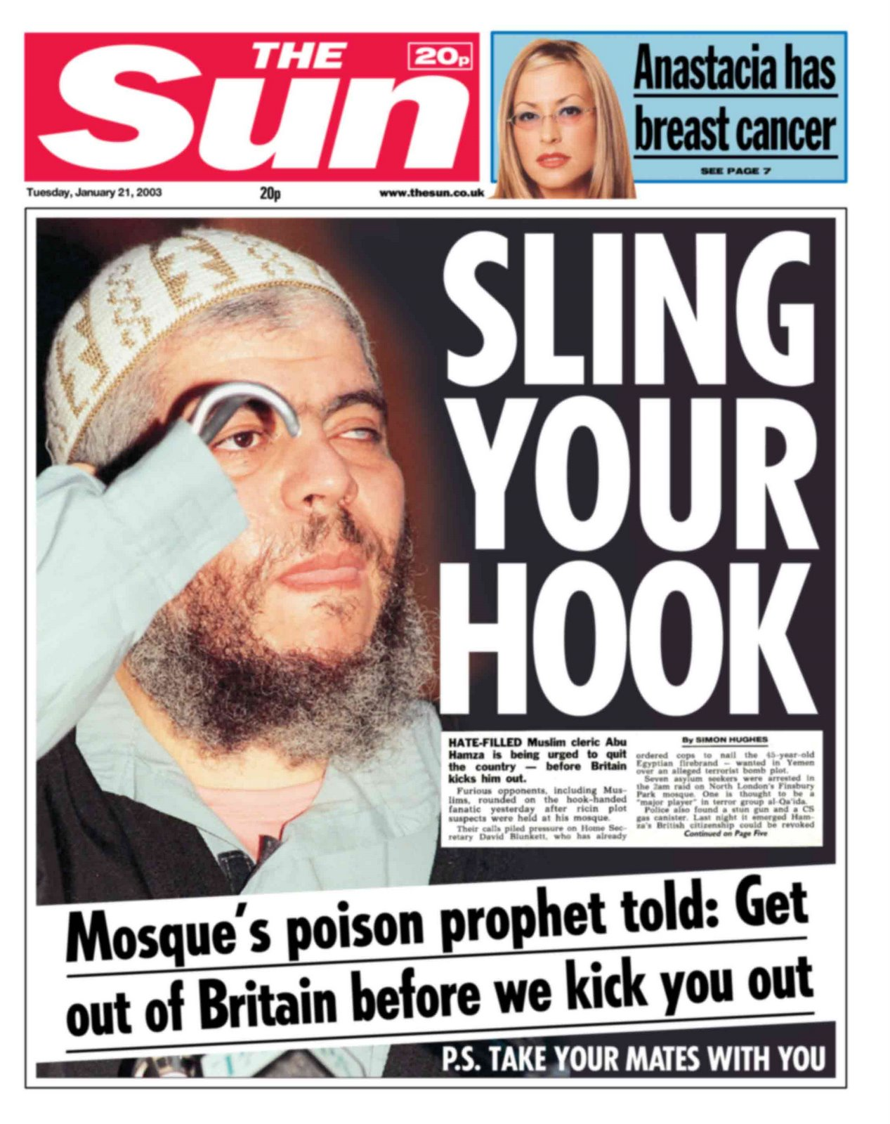 The Sun Splash Headline Abu Hamza al-Masri, Sling your hook. What copywriters can learn from tabloid writers